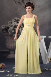 $enCountryForm.capitalKeyWord NZ - Yellow Flowers Chiffon Cheap Long A Line Bridesmaid Pant Suits Zipper Back Formal Maid of Honor Dresses Wedding Guest Gowns WD4-1098