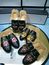 China huweifeng4 Flowers Quality Letter Top Snake Metal Buckle Fur Flat shoes Cowhide leather Woman embroidery Bee Tiger casual slippers cheap snake flowers suppliers