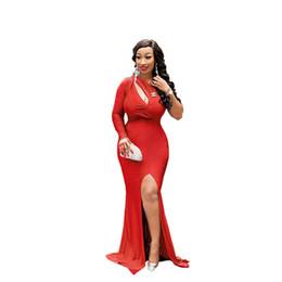 $enCountryForm.capitalKeyWord UK - One Shoulder Maxi Dress Women Elegant Party Long Dress Red High Split Leg Sexy Dresses Female Vestidos