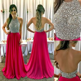 Fuchsia A-line Prom Dresses 2018 Sexy Jewel Sleeveless Long Prom Dresses  Evening Gowns With Sparkly Crystals Beaded Bodice For Teens From 2e7ec98acdb2