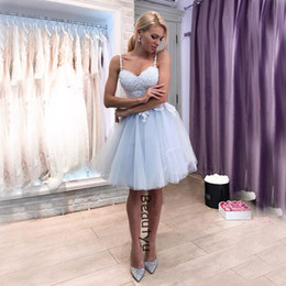 Short Red Lace Prom Vintage Dress Australia - Vintage Lace Short Prom Dresses 2018 Plus Size A Line Knee Length Light Blue Tulle Backless Girls Formal Graduation Homecoming Party Gowns