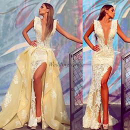 Detachable Plus Size Prom Dress Canada - Lace Split Side Mermaid Evening Dresses With Detachable Train Deep V Neck Prom Gowns vestidos festa Plus Size Formal Dress