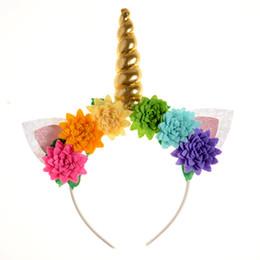 $enCountryForm.capitalKeyWord Australia - Gold Unicorn Horn Headband Sequin Bunny Ears Hair Band Satin Lotus Flowers Headband for Kids Unicorn Birthday Party Decoration