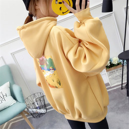 Discount kangaroo pocket - Loose Autumn Winter New Fashion Plus Velvet Hoodies Cartoon Back Cute Picture Kangaroo Pocket Drawstring Solid Sweatersh