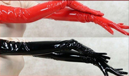 $enCountryForm.capitalKeyWord NZ - FREE SHIPPING NEW WOMEN GIRL SEXY BLACK RED PVC LEATHER LOOK SHINING LONG GLOVES CLUB DANCE pvc costume leather lingerie