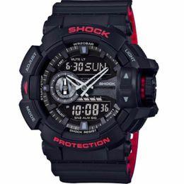 Hombres de la moda Relojes deportivos Reloj de cuarzo digital LED Big Dial 50M Relojes de pulsera a prueba de agua Dual Relogio Masculino 400