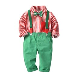 toddler strap 2018 - Christmas Fashion Boys Clothing Sets baby boy clothes Red bow tie long-sleeved shirt+ Straps trousers 2pcs Kids suits To