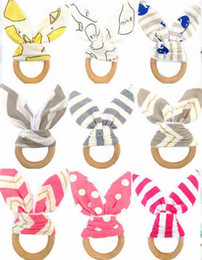 Free ear rings online shopping - Infants wooden teether Bunny ears tooth ring Teethers Baby toys colors Striped Dots Cute INS style Cheap