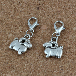 wholesale charms NZ - MIC 100Pcs Antique Silver Alloy sheep Charms Bead with Lobster clasp Fit Charm Bracelet 12x29mm DIY Jewelry A-227b