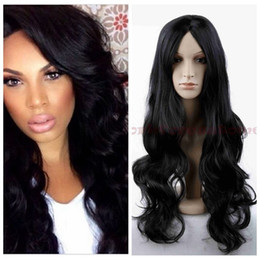 2018 black hair costumes Fashion Women Heat Resistant Long Curly Hair Cosplay Costume Black Full Wig Wigs discount black hair costumes