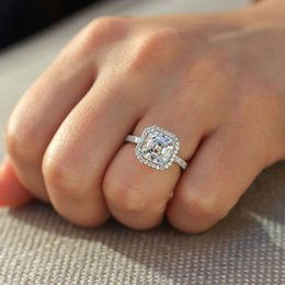 50ff4b4a914 Asscher Cut 14k White Gold 4ctw DF Engagement Wedding Lab Grown Moissanite  Diamond Halo Ring Test Positive For Women Luxurious S923
