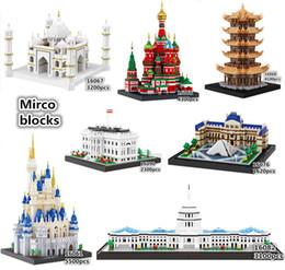 Discount plastic toy castle building blocks - Balody Architecture Bricks diamond Mirco building blocks Taj Mahal Louvre Vasily Church US Capitol Castle toys For Kids