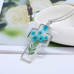 resin crosses for 2019 - 2018 New Vintage DIY Flowers Decoration Necklace Resin Cross Pendent For Women Alloy Sweet Necklace Jewelry Gift Dropshi
