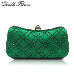 $enCountryForm.capitalKeyWord Australia - Double Flower Chinese Coins Numismatics Green Emerald Women Crystal Evening Clutch Handbag Purse Wedding Party Shoulder Bag