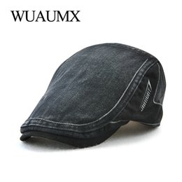 bc479850701 Wuaumx Spring Beret Hat Men s Summer Hat Cotton Duckbill Beret Gatsby Cap  Painter Flat Cap For Men Adjustable platte pet heren