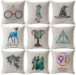 $enCountryForm.capitalKeyWord Canada - Harry Potter Cushion Cover Watercolor Painting Sorting Hat the Goblet of Fire Art Cushion Covers Sofa Beige Linen Pillow Case
