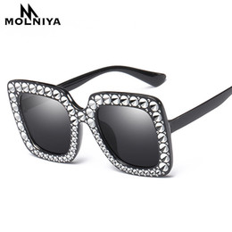 Black diamonds for cheap online shopping - Cheap Diamond Big Square Sunglasses New Luxury Brand Designer Ladies Women Frame Mirror Sun Glasses For Female