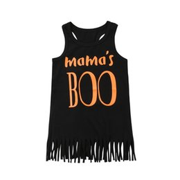 mama girl clothes 2019 - 2018 New Kids Baby Girls Casual Mama Boo Tassels Print Sleeveless Dresses Summer Black Casual Clothes discount mama girl