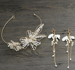 Butterfly hair comB wedding online shopping - Bridal accessories wedding accessories hand made Butterfly Crystal headwear new hoop comb long earrings