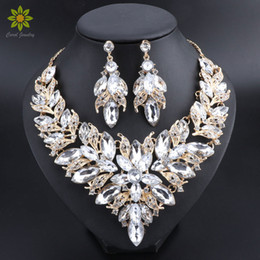 d15f70b9a73 Luxury Flower Indian Bridal Jewelry Sets Wedding Costume Gold Plated Necklace  Earrings Set Crystal Set Jewellery for Brides Women