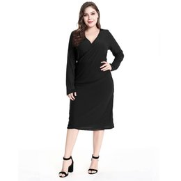 c19c824078 2018 Autumn Solid Plus Size Women Dress Big Size Red Black Elegant Work  Office Dresses Large Size Women Clothing