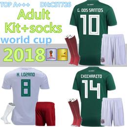 2018 World Cup Soccer jersey adult Kits+socks Mexico home green CHICHARITO  FABIAN G DOS SANTOS Mexico away white men Football shirt 4403dce31