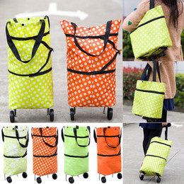 Trolley ToTe bag online shopping - Foldable Shopping Trolley Bag Cart Rolling Wheel Home Grocery Storage Bag Handbag Tote Travel Organizer Bags Colors WX9