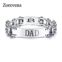 ae9d3b06990f ZORCVENS Gool Man Pulsera de acero inoxidable para DAD Silver Color Bike  Chain Pulseras Brazaletes para hombres Hombre Regalos para el día del padre