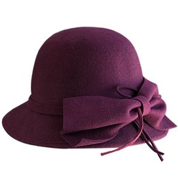 Golf Edge Canada - Winter Spring 100% Pure Super warmth bow truly Wool black Hat Cloth Wave Basin Fisherman Felt Hat Contracted Ms Wave edge hats