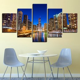 Homes Building NZ - Home Canvas Paintings Wall Art Decor Living Room Framework 5 Pieces City Building Nightscape Pictures HD Prints Lake Tree Poster