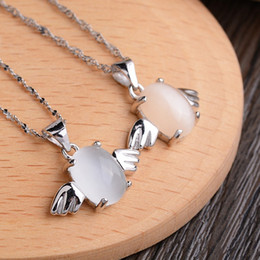 $enCountryForm.capitalKeyWord Australia - Pure 925 Sterling Silver Angel Pendants DIY Leather Necklaces Women' Jewelery Wings Egg Opal Slide Fashion Halloween Party Gifts 17*18mm 6pc