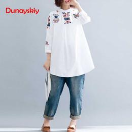 8cc9eb808fed Discount women white blouse embroidery - 2018 New fashion Women Blouses  Cotton Linen Embroidery Kimono Blouse