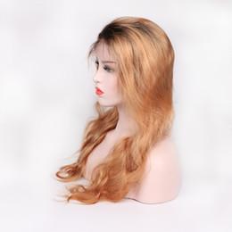 Cheap Full Ombre Wigs Australia - Fashion top 100% unprocessed virgin remy human hair long #1bt27 colorful ombre color long body wave full lace wig cheap for women