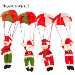 Wholesale Christmas Decorations New Year Santa Claus Snowman Parachute Drop Pendants Xmas Tree Hanging Ornaments