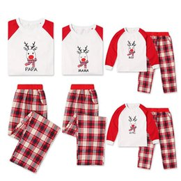 8b2dd42aed Merry Christmas Matching Family Pajamas Red Plaid Elk Deer Nightwear Kids  Adult XMAS PJs Gifts Family Matching Outfits QZ07