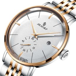 self luminous watch automatic 2019 - Automatic Self Wind Mechanical Luminous Stainless Steel Black White Dial Simple Business Watch Waterproof relogio mascul