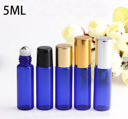 Wholesale Empty Cobalt Blue Glass Roller Bottles ml Refillable Glass Roll On Bottles With Metal Ball for Essential oils Perfume