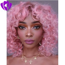 ombre dark green bob wig UK - New style bob style loose curly Synthetic Lace Front Wigs pink Bouncy Heat Resistant Synthetic short curly wig for women