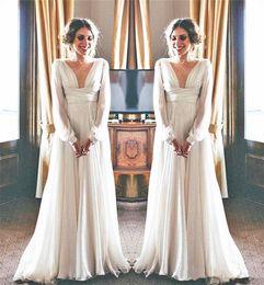 c0bcc25131 Vestido de novia estilo diosa griega Manga larga Cuello en V profundo Gasa  que fluye Longitud del piso Vestidos de novia elegantes Vestidos de Noiva  por ...