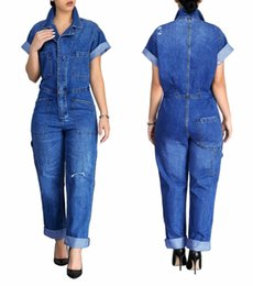 rompers buttons NZ - Ripped Rolled Up Short Sleeve Jeans Jumpsuit Plus Size With Buttons Pockets Casual Long Denim Rompers Women One Piece Rompers