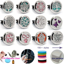 Gift car charGer online shopping - New DESIGNS mm Stainless Steel Car Air Freshener Aromatherapy Essential Oil Diffuser Locket With Vent Clip Free felt pads B
