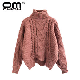 182f5ceea7 OMCHION Sueter Mujer 2018 Winter Turtleneck Long Sleeve Women Sweaters And Pullovers  Ugly Oversized Twist Thicken Pullover LMM69