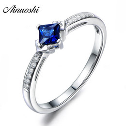 Princess Cut Sterling Silver Ring NZ - AINUOSHI 1.25 Carats Princess Cut Blue Sona Bridal Rings 925 Sterling Silver Women 4 Prongs Rings Wedding Engagement Jewelry