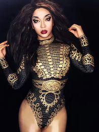 $enCountryForm.capitalKeyWord Canada - Ds Dress Glisten Black Gold Crystals Bodysuit Women's Long Sleeves Outfit Dance Stage Show Nightclub Costume Singer nice Leotard Wear