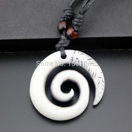 carved yak bone pendants Australia - Men Women's Fashion Jewelry Imitation Yak Bone Carved Hawaiian Style Spiral Maori Fishhook Pendants Necklaces Gift MN247