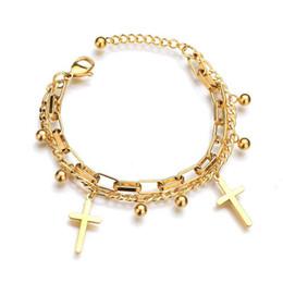 Discount faded gold chain - MxGxFam Religious Cross Charm Bracelets 2 line Jewelry For Women 316L titanium steel Gold Color 17 cm +3.5 cm No Fade
