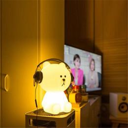 $enCountryForm.capitalKeyWord Australia - Ins Hot Lovely White Teddy Bear Children LED Bed Table Lamp Dimmable Baby Bedroom LED Night Light For Kids Gift