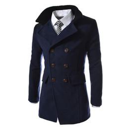 2018 uomini inverno giacca lunga giacca di lana calda trincea outwear patchwork pulsante maschile cappotti casual uomo abbigliamento in Offerta