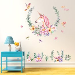 Discount room decorative - Babelin Crayons Unicorn Stickers Bedroom Living Room Sofa Background Decorative Wallpaper Pvc Removable Wall Sticker Who