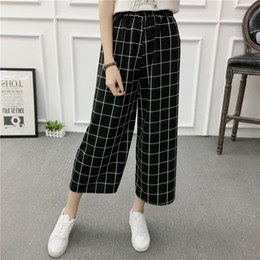 red plaid pants plus size 2018 - Women Wide Leg Pants Casual Loose High Elastic Waist Harem Pants Loose Belt Striped Elasticated Trouser discount red pla